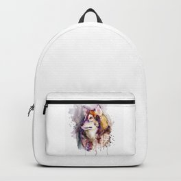Watercolor Wolf Portrait Backpack