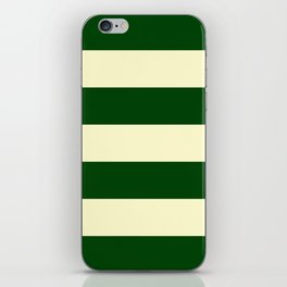 Dark Emerald Green and Cream Large Stripes iPhone Skin