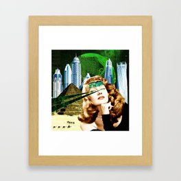 Surreal Futuristic City Woman Framed Art Print
