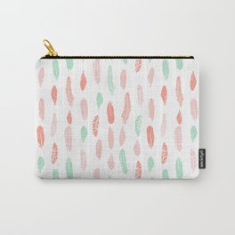Feather mint pink and white minimal feathers pattern nursery gender neutral boho decor Carry-All Pouch