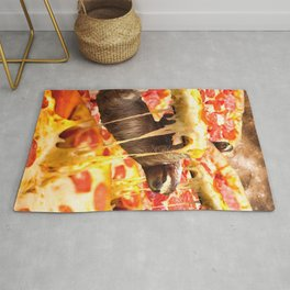 Funny Space Sloth With Pizza Rug