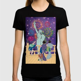 Hokusai People Seeing Statue of Liberty & Fireworks in Universe T-shirt