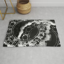 Black and White Abstract Lace Painting Rug