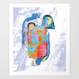 Sleeping and dreaming illustration, design for children Art Print