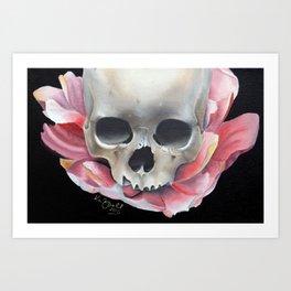 Lotus Flower and Skull Art Print
