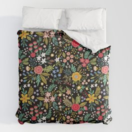 Amazing floral pattern with bright colorful flowers, plants, branches and berries on a black backgro Comforters