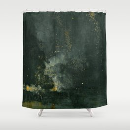 Nocturne In Black And Gold The Falling Rocket By James Mcneill Whistler   Reproduction Shower Curtain