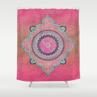 india Shower Curtains featuring India Pink by LebensART