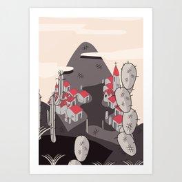 Small Town on the hillside Art Print