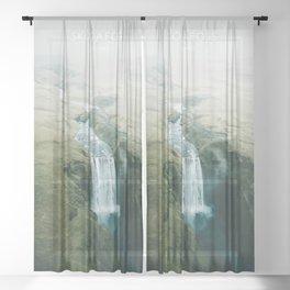 Skogafoss Waterfall, Iceland Travel Artwork Sheer Curtain