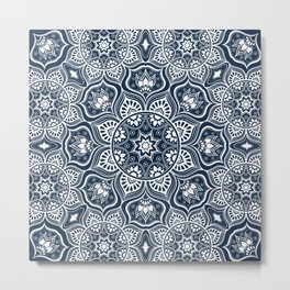 Mandala, Bohemian, Tribal, Ethnic, Navy and White Metal Print