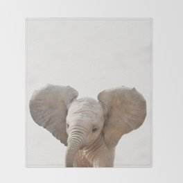 Baby Elephant, Baby Animals Art Prints by Synplus Throw Blanket