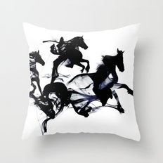 Black horses Throw Pillow