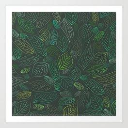 Green Leaves pattern Art Print