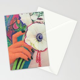 taking a picture with a flower Stationery Cards