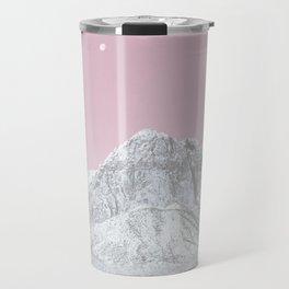 Mojave Pink Sky // Red Rock Canyon Las Vegas Desert Landscape Snowstorm Moon Mountains Travel Mug