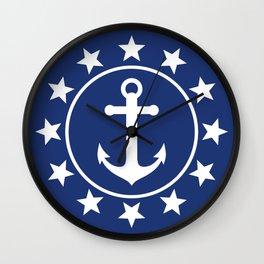 White Anchors & Stars Pattern on Navy Blue Wall Clock