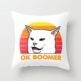 Woman Yelling At Table Dinner Funny Cat Ok Boomer Throw Pillow