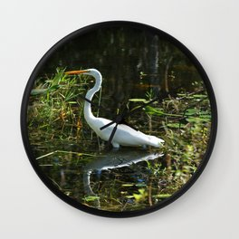 White Egret Wall Clock