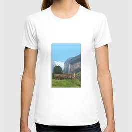Switzerland alps, Swiss mountains and waterfall. Lauterbrunnen. T-shirt