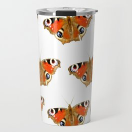 Beautiful Peacock Butterflies On A White Background #decor #society6 Travel Mug