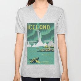 Vintage Mid Century Modern Iceland Scandinavian Travel Poster Ocean Whale Winter Village Unisex V-Neck