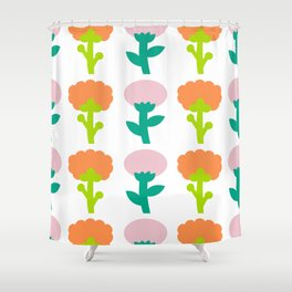 Retro Flower Shower Curtain