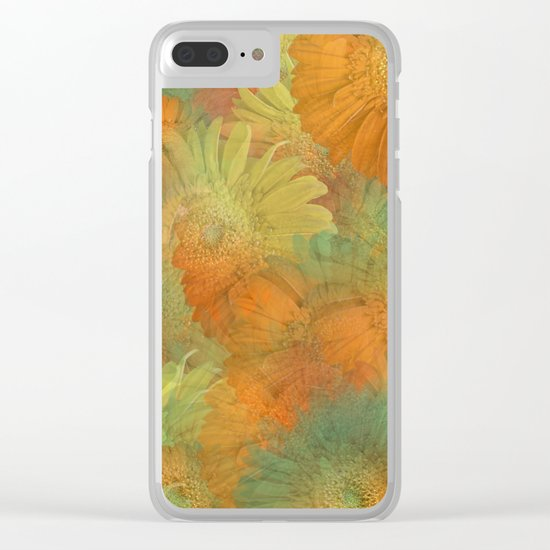 Floral Orange-Yellow-Green Clear iPhone Case