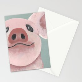 Original Painting - Farm Friends - Baby Pig - Cute Pig Painting Stationery Cards