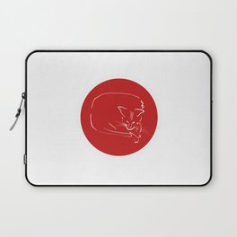 Relaxing Cat in red circle Laptop Sleeve