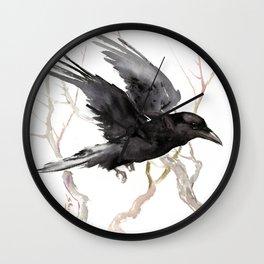 Flying Raven Art Wall Clock