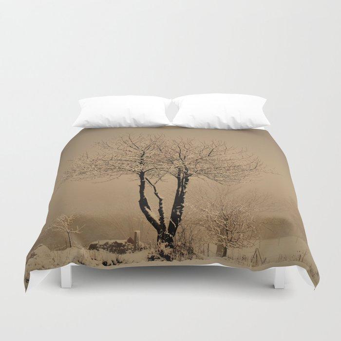 Sepia winter Duvet Cover