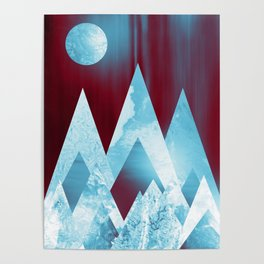 ICY MOUNTAINS UNDER A BLOOD RED WINTER MOON Poster