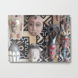 African Mask display on fabric collection Metal Print