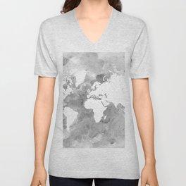 Design 49 Grayscale World Map Unisex V-Neck