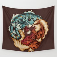 buddhism Wall Tapestries featuring The Tiger and the Dragon by Megan Lara