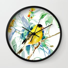 American Goldfinch, yellow sage green birds and flowers Wall Clock