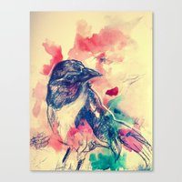 birdy Canvas Prints featuring Birdy by Hilary Dow