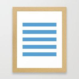 Carolina blue - solid color - white stripes pattern Framed Art Print