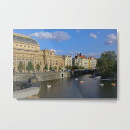 Sunny Day in Prague - View from Legion Bridge Metal Print