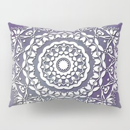 FLORAL WATERCOLOR VIOLET AND WHITE MANDALA  Pillow Sham