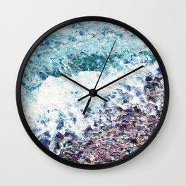 Waves lap at the shore - painting - art gift - abstract Wall Clock