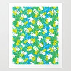 Tropical green pinapples Art Print