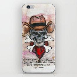 Cowboy Skull, A tribute to Waylon Jennings iPhone Skin