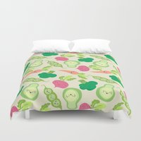 vegetable Duvet Covers featuring VEGETABLE PARTY! by Claudia Ramos Designs