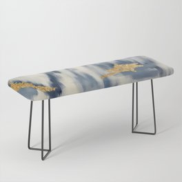 Blue and Gold Ikat Pattern Abstract Bench