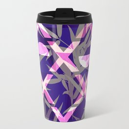 Fresh Vibrant Purple Geometric Bamboo Design Travel Mug