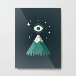 vector illustration of eye over the mountain at night Metal Print