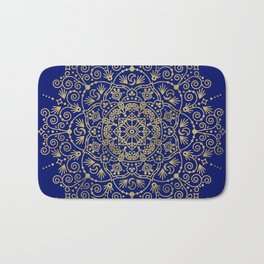 Moroccan Mandala – Gold Ink on Navy Bath Mat
