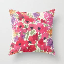 Big Red Poppy Patch Throw Pillow